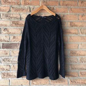 SWEATER | Vintage loose knit black crew neck